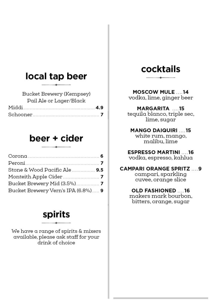 Nourish Cafe Cocktails & Beers menu