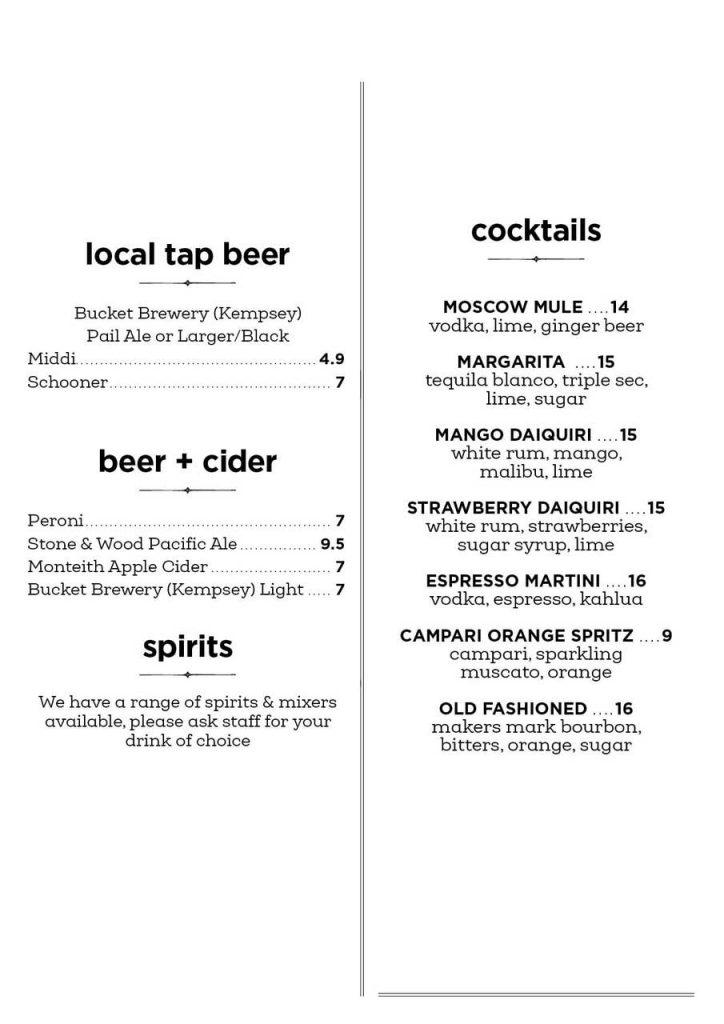 Nourish Cafe Valla Beach Beer Cocktail Menu