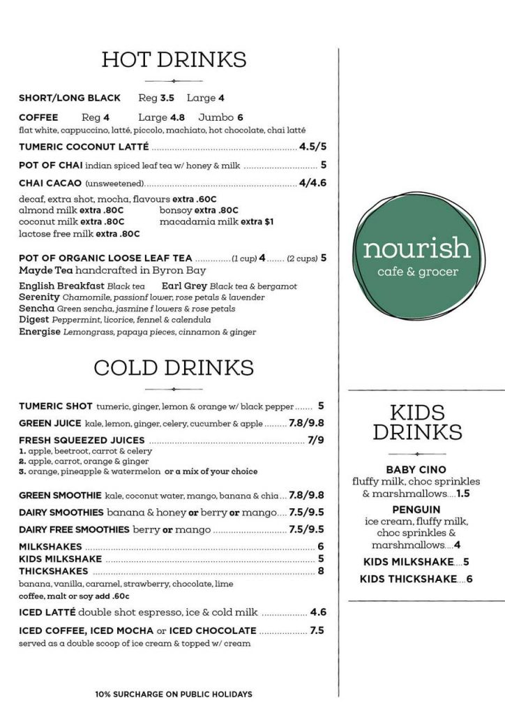 Nourish Cafe Valla Beach Drinks Menu
